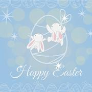 Two white Easter Bunny climber - stock illustration