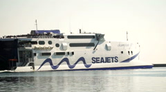 The ferry which transports refugees sails from Mytilini to Athens. Stock Footage