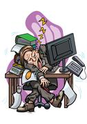 Exhausted employee sleeping at the office table Stock Illustration