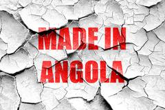 Grunge cracked Made in angola - stock illustration