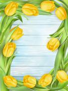 Yellow tulips flowers on wooden planks. EPS 10 - stock illustration