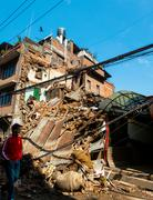 Nepal earthquake in Kathmandu - stock photo