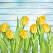 Yellow tulips flowers on wooden planks. EPS 10 Stock Illustration
