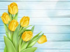 Yellow tulips flowers on wooden planks. EPS 10 Stock Illustration