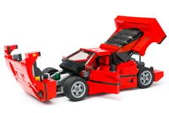 Lego Ferrari F40 car with open hood, doors and trunk - stock photo
