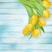 Yellow tulips flowers on wooden planks. EPS 10 - stock illustration