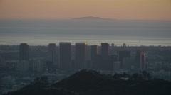 City skyline with ocean (GRADED) Stock Footage