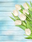 Bouquet of white tulips. EPS 10 Stock Illustration