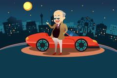 Rich Man Standing in Front of His Sport Car - stock illustration