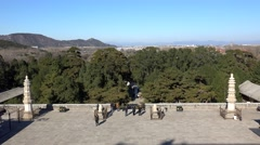 Base of Sumeru Temple from Longevity hill with the Beijing city on bkg - stock footage