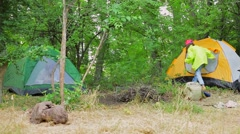 Tourist Girl Getting Inside Tent Stock Footage