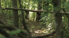 Soliders training in forest Stock Footage