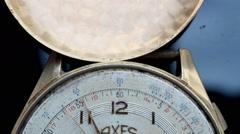 h 12 macro-vintage watch detail Stock Footage
