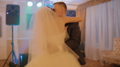 Bride and groom in first wedding dance Stock Footage