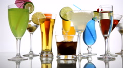 Variety of Alcoholic Beverages Stock Footage