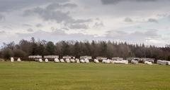 Gliders awaiting better weather to take off at Whire Horse, Thirsk, North Yor - stock photo