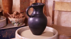 Potter's jug rotating Stock Footage