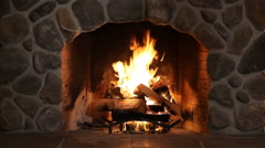 Fireplace wide view Stock Footage