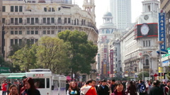 Crowd of nanjing east road in shanghai Stock Footage