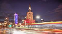 European street time lapse in 4k. Warsaw traffic time lapse. Stock Footage