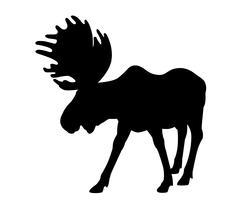 Silhouette adult moose - stock illustration