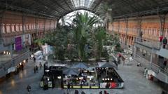 Passengers in Atocha railway Station. Madrid ,Spain Stock Footage