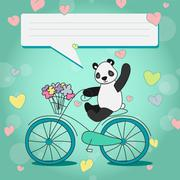 Positive Panda with bouquet on Bicycle Piirros
