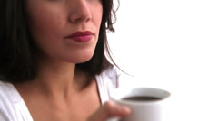 Woman drinking coffee - stock footage