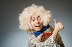 Funny man with afro wig Kuvituskuvat