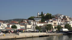 4K Famous Greek traditional building town Skiathos Island resort attraction day  Stock Footage