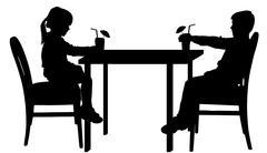 Vector silhouettes of children. Stock Illustration