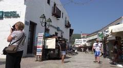 4K Tourist attraction shopping street old town Skiathos Island Greek souvenirs  Stock Footage
