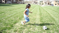 Girl playing soccer Stock Footage