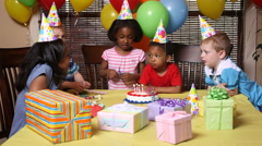 Children at a birthday party Stock Footage