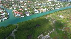 Aerial drone video luxury homes Key Biscayne FL Stock Footage