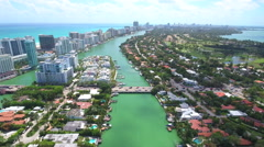 Aerial drone footage La Gorce Island Miami Beach Stock Footage