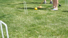 Playing croquet - stock footage
