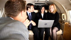 Business team has meeting inside jet Stock Footage