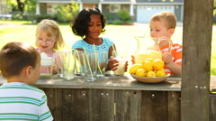 Children with lemonade stand - stock footage