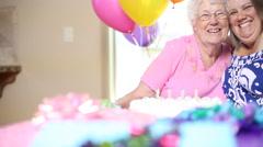 Celebrating grandmothers birthday - stock footage