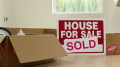 New home owners unpacking boxes Stock Footage