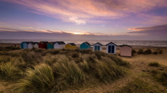 Sunrise Time Lapse Sand Dunes Beach Huts Southwold Beach  Stock Footage