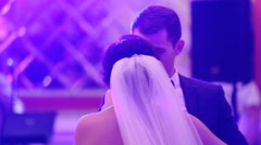 First wedding dance of a young beautiful  married couple in love in a fancy Stock Footage