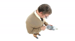 Nerdy guy with calculator Stock Footage