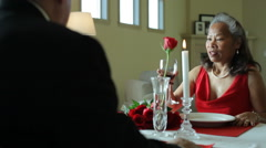 Valentine's Day toast, senior couple Stock Footage