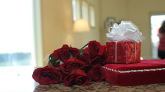 Roses chocolates and present for valentines day Stock Footage