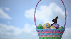 Easter basket in grass, time lapse Stock Footage