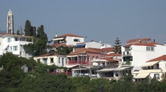 4K Beautiful residential house traditional architecture Skiathos Island Greece  Stock Footage