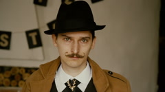 Man with a mustache is stay Stock Footage