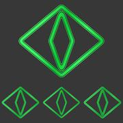 Green cat eye logo design set - stock illustration